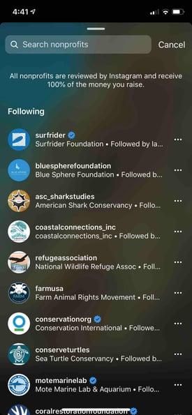 Instagram Donate options